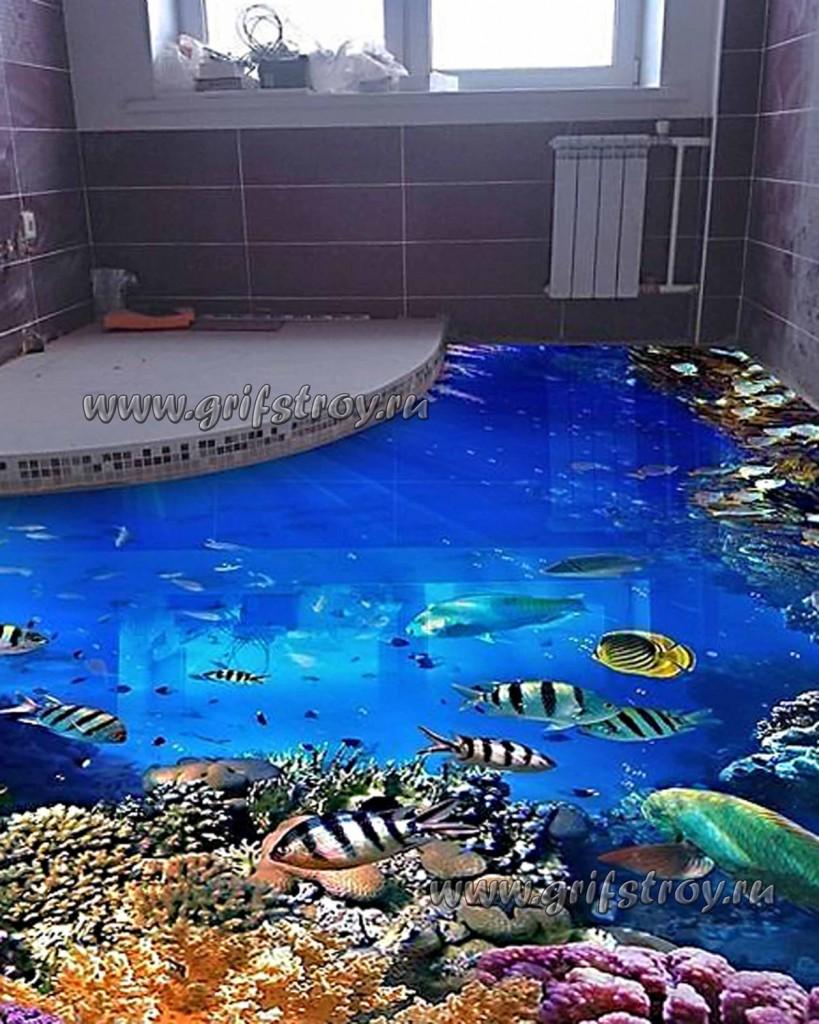 Морской 3D-пол в ванной комнате частной квартиры